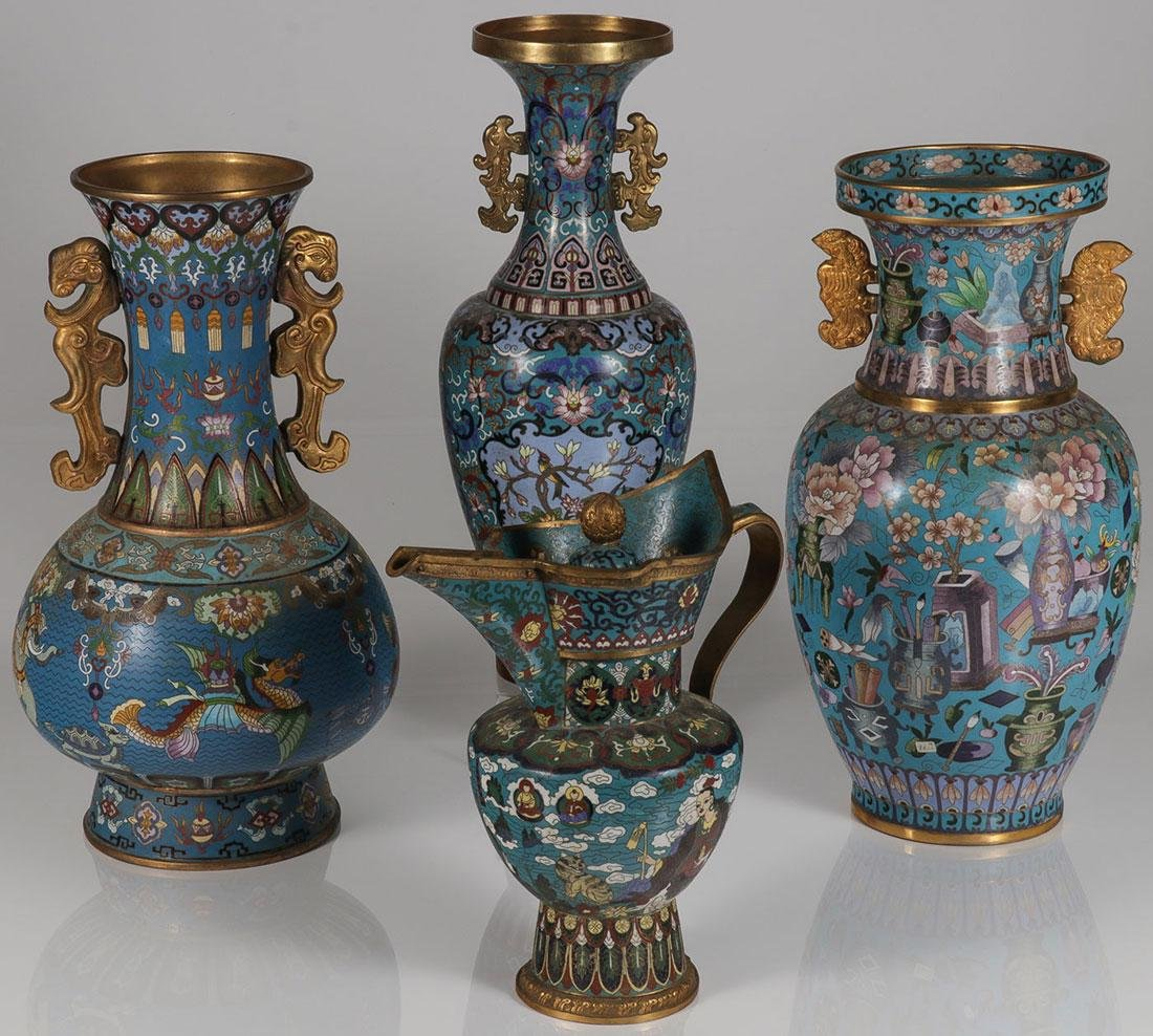 4 LARGE AND IMPRESSIVE CHINESE CLOISONNÉ VESSELS
