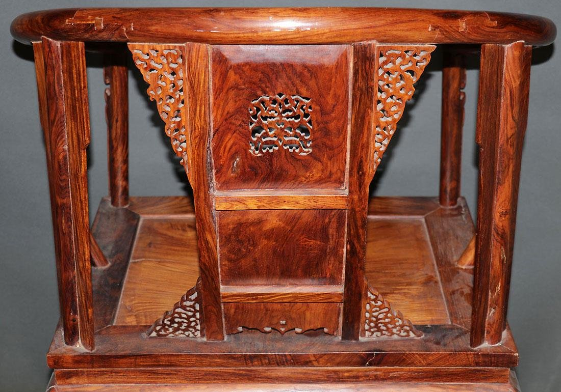 A CHINESE CARVED ELMWOOD ARM CHAIR - 2
