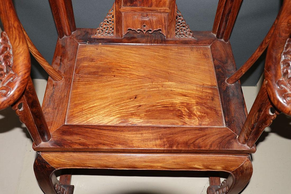 A CHINESE CARVED ELMWOOD ARM CHAIR - 4