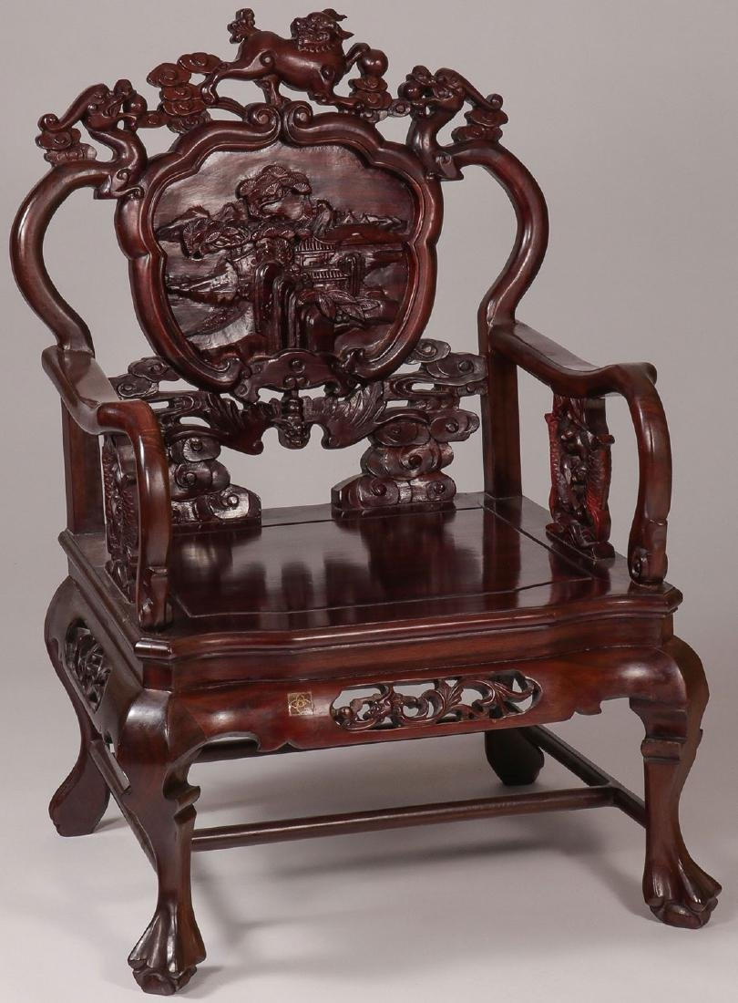 A CARVED CHINESE THRONE CHAIR, 20TH CENTURY