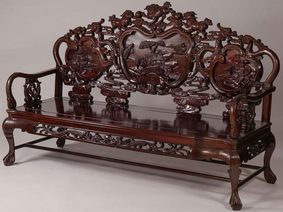 A CHINESE CARVED WOODEN BENCH, 20TH C.
