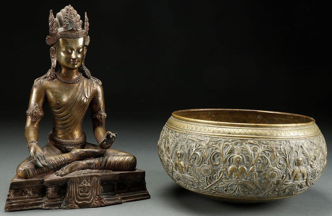 A SINO-TIBETAN BRONZE BUDDHA AND BRASS BOWL