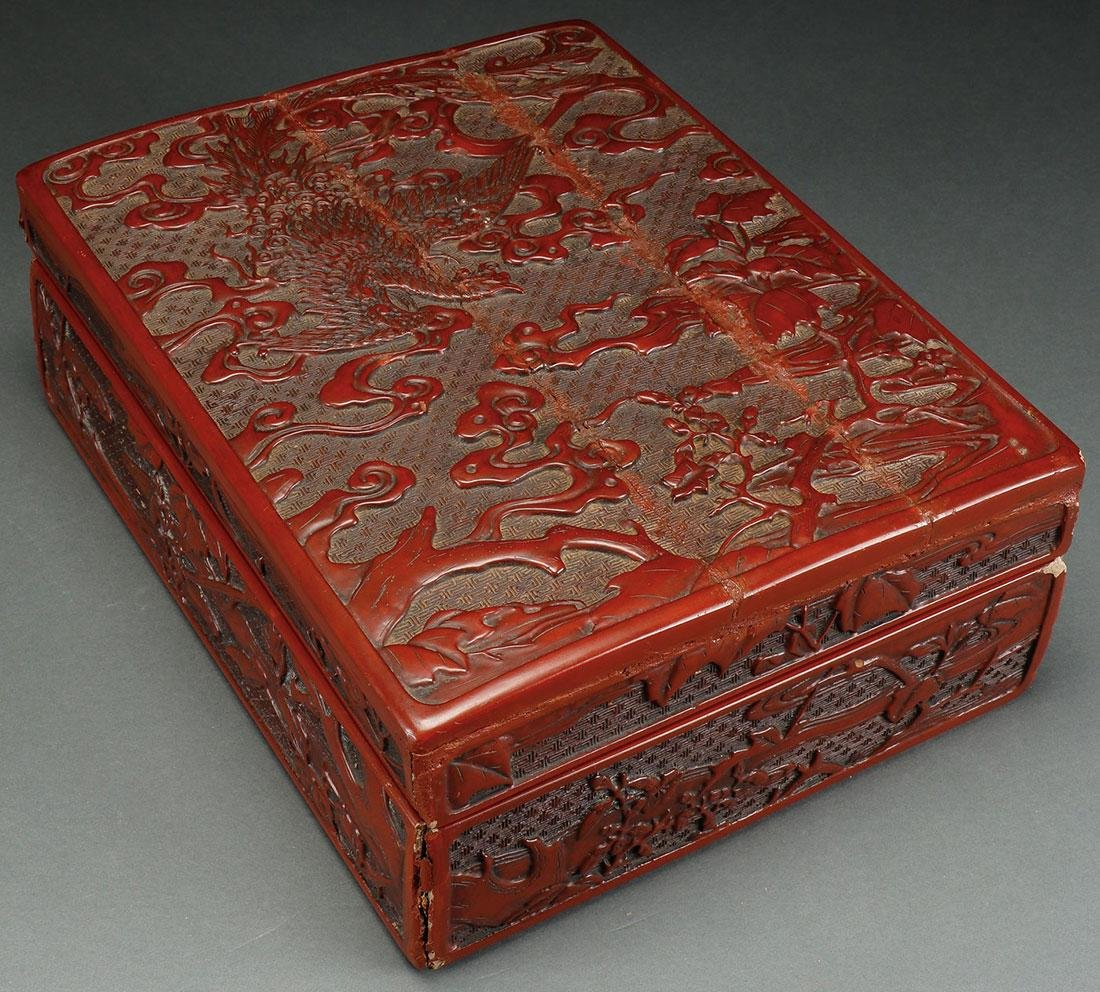 A CHINESE CARVED CINNABAR LACQUER LIDDED BOX, 19T