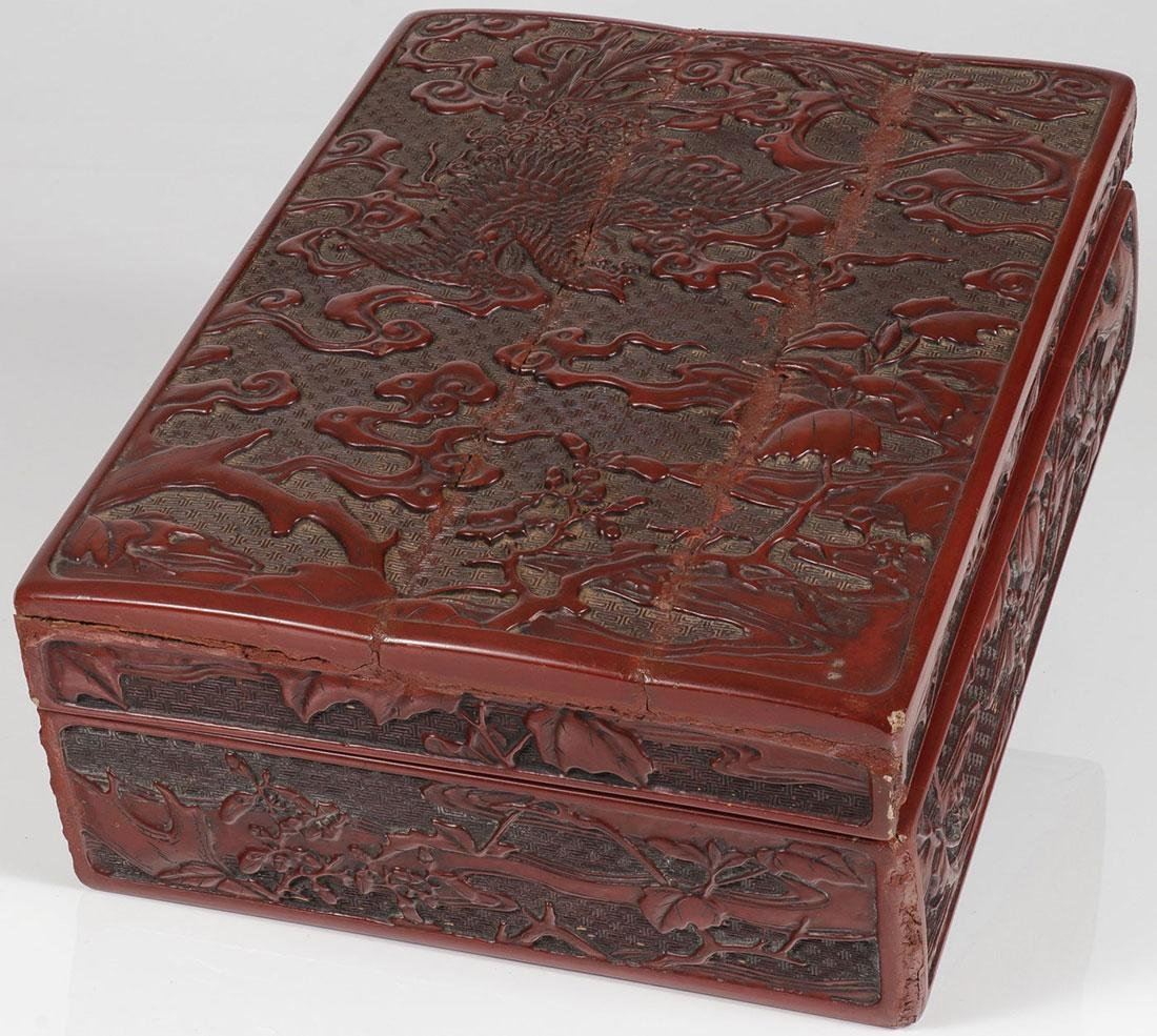 A CHINESE CARVED CINNABAR LACQUER LIDDED BOX, 19T - 2