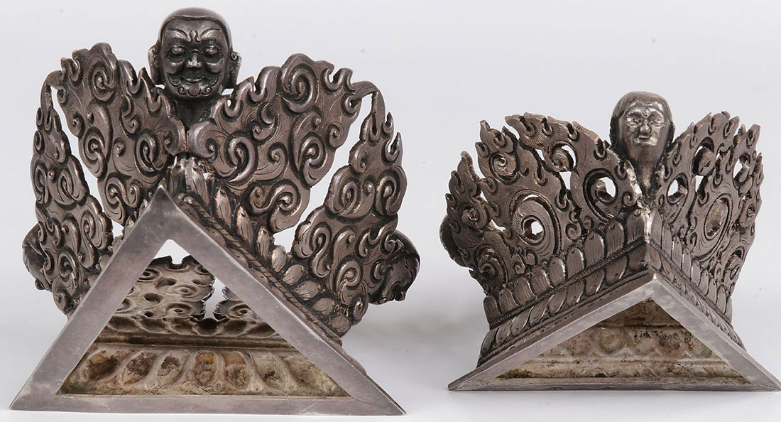 A PAIR OF TIBETAN SILVER COVERED VESSELS - 2
