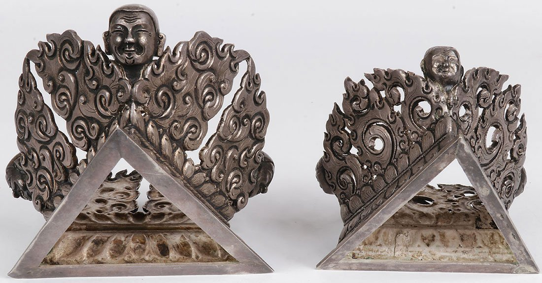 A PAIR OF TIBETAN SILVER COVERED VESSELS - 3