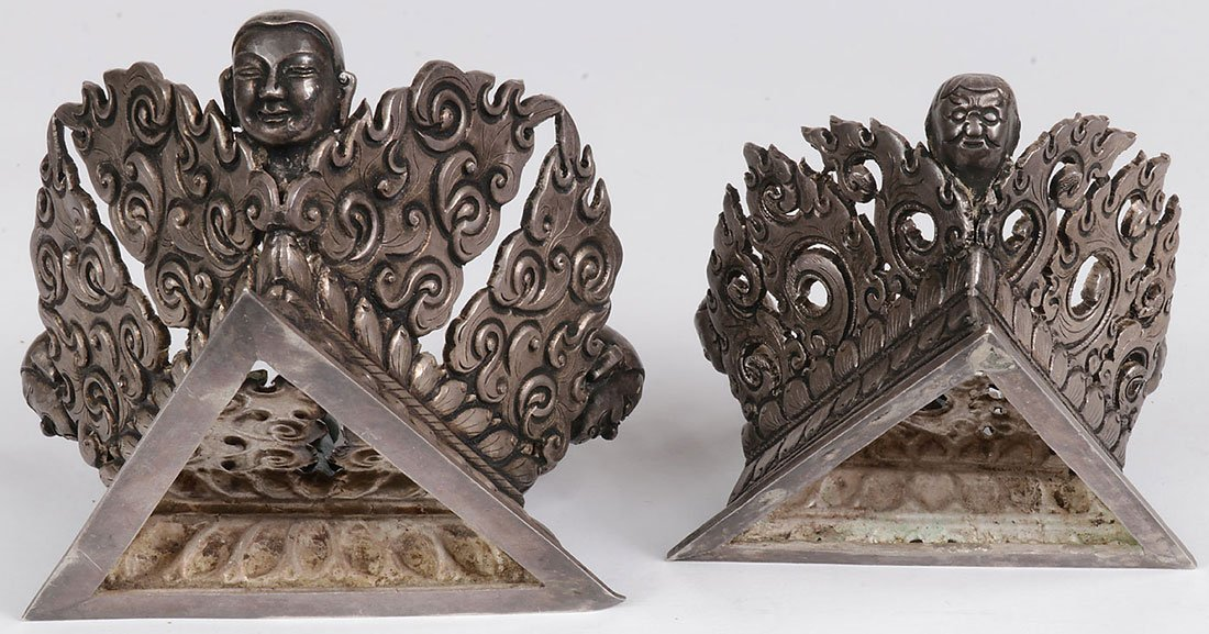 A PAIR OF TIBETAN SILVER COVERED VESSELS - 4