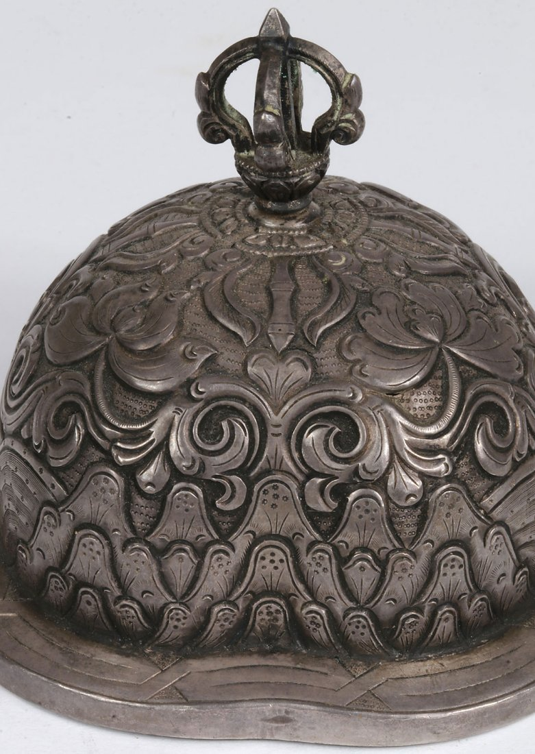 A PAIR OF TIBETAN SILVER COVERED VESSELS - 9
