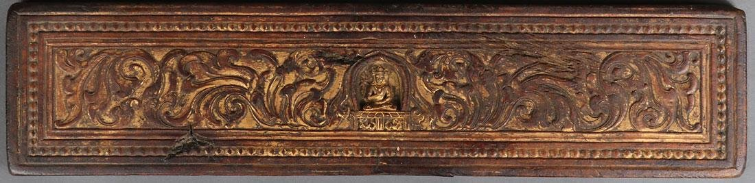 5 TIBETAN CARVED POLYCHROME AND GILT SUTRA COVERS - 3