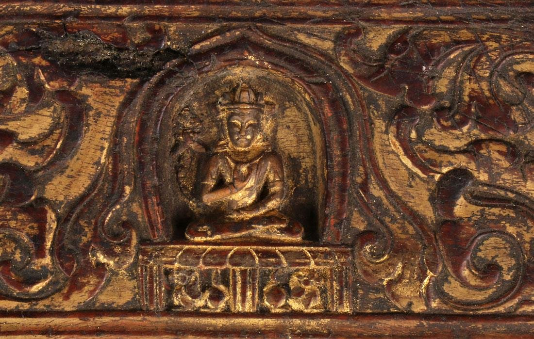 5 TIBETAN CARVED POLYCHROME AND GILT SUTRA COVERS - 4