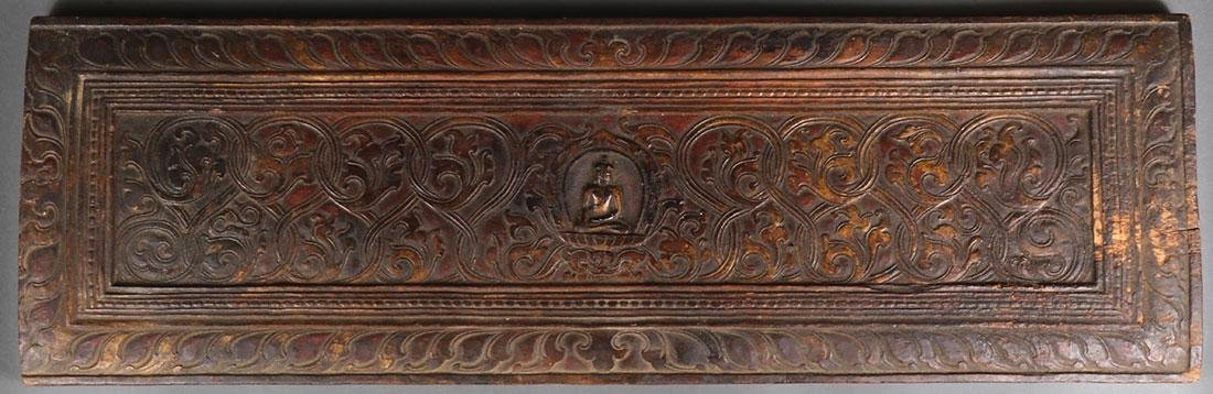FOUR TIBETAN CARVED WOOD SUTRA COVERS - 2