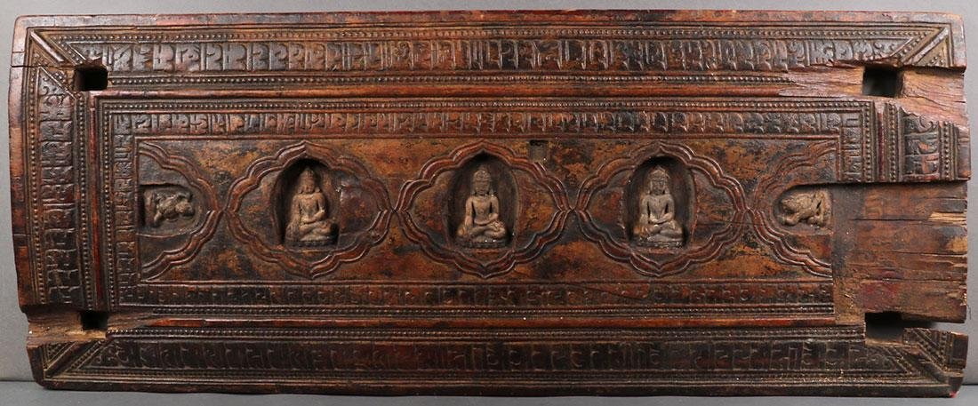 FOUR TIBETAN CARVED WOOD SUTRA COVERS - 4