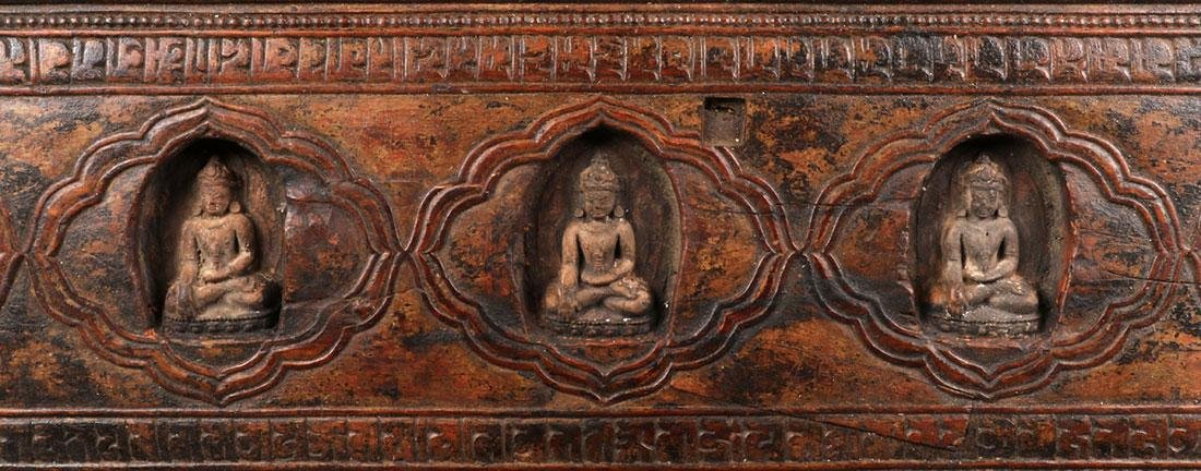 FOUR TIBETAN CARVED WOOD SUTRA COVERS - 5
