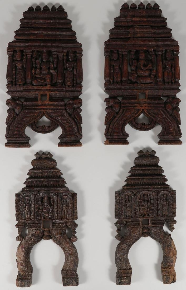 A SET OF CARVED WOOD HINDU PANELS, 19TH CENTURY