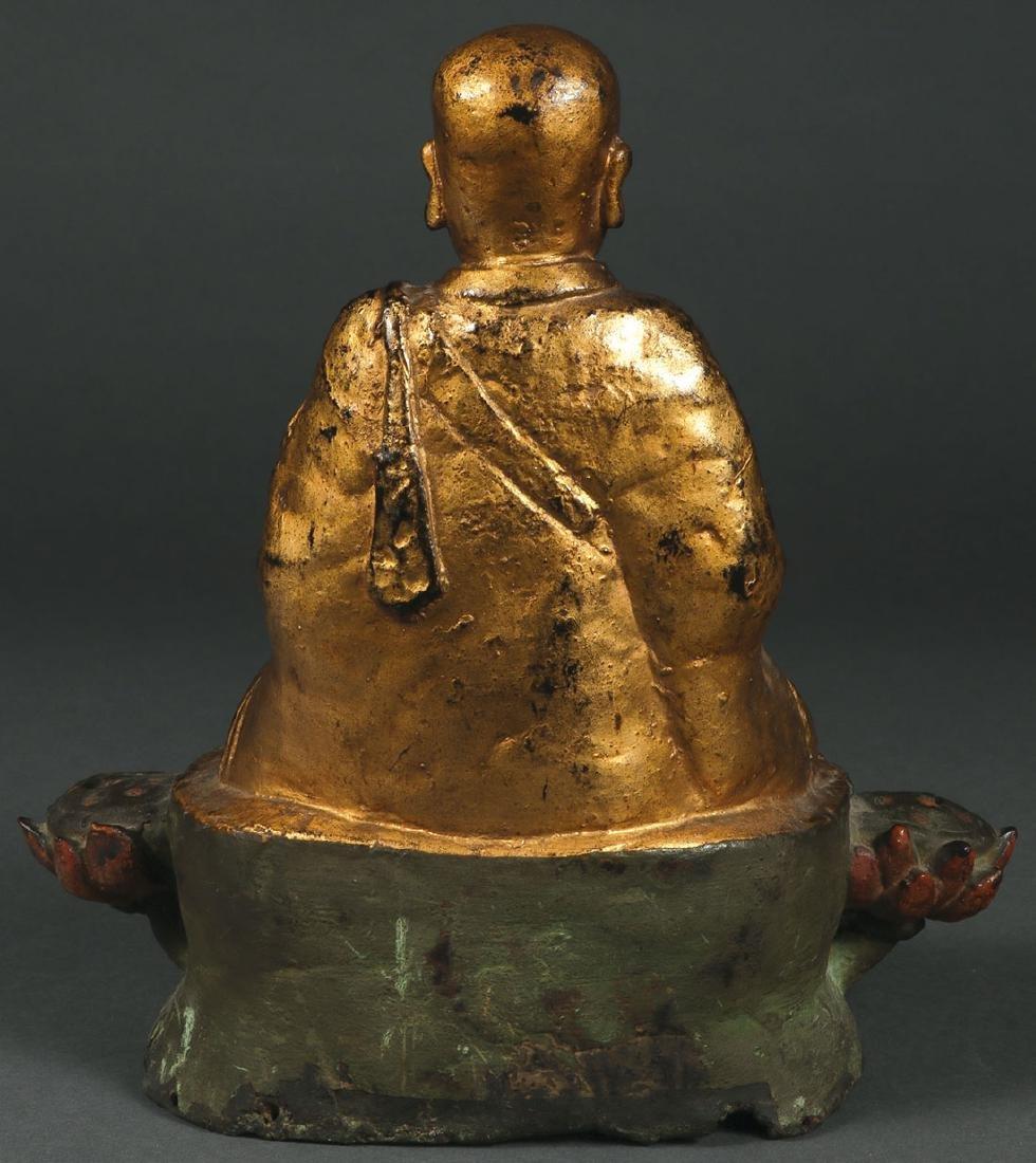 A SINO-TIBETAN POLYCHROME AND GILT BRONZE BUDDHA - 2