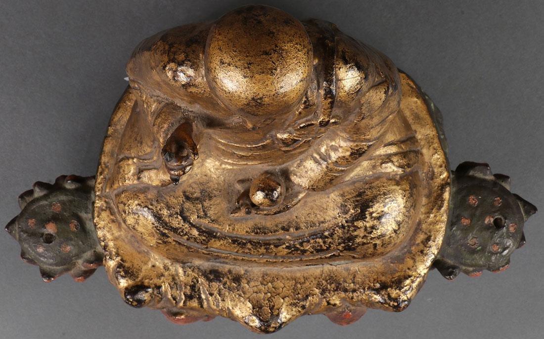 A SINO-TIBETAN POLYCHROME AND GILT BRONZE BUDDHA - 4