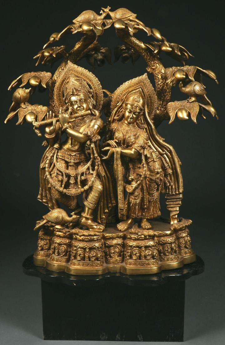 A LARGE & IMPRESSIVE BRASS FIGURAL GROUPING