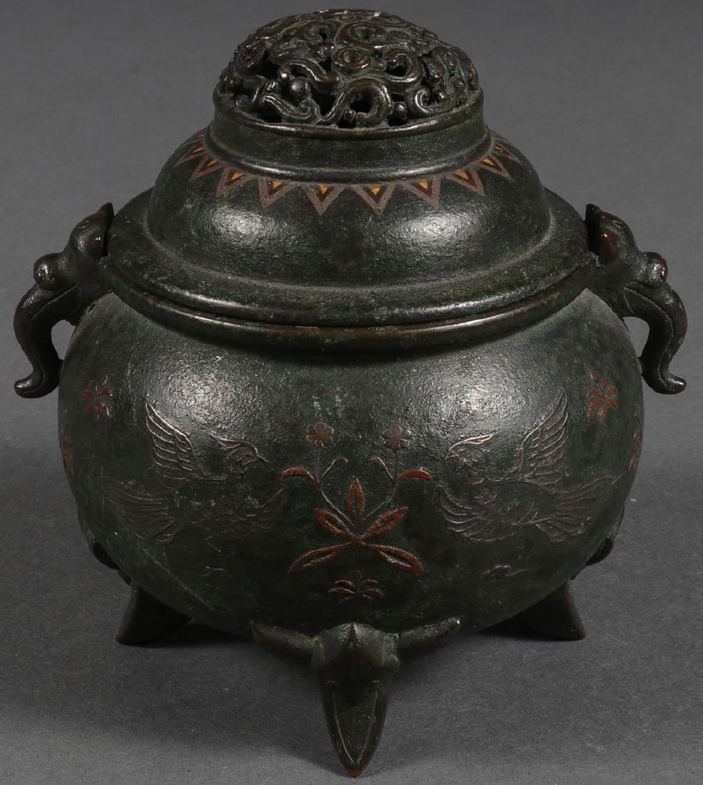 A BRONZE AND MIXED METAL FOOTED INCENSE BURNER - 2