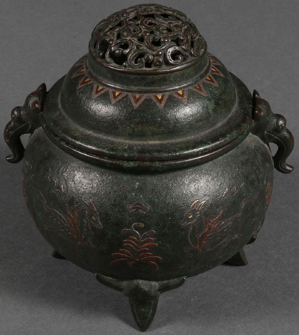 A BRONZE AND MIXED METAL FOOTED INCENSE BURNER - 4