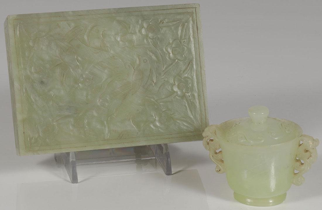 TWO CHINESE CARVED HARDSTONE OBJECTS