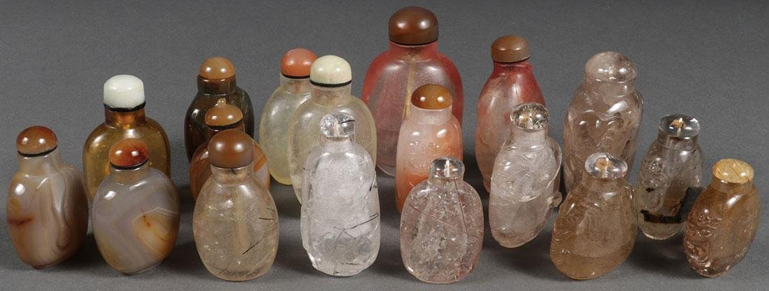 EIGHTEEN CHINESE CARVED SNUFF BOTTLES