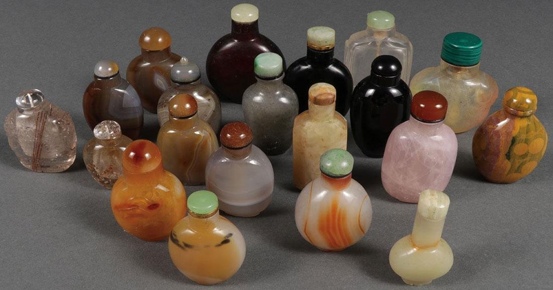 TWENTY CHINESE CARVED SNUFF BOTTLES