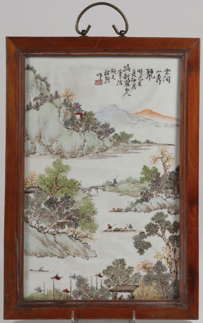 A CHINESE HAND PAINTED PORCELAIN PLAQUE