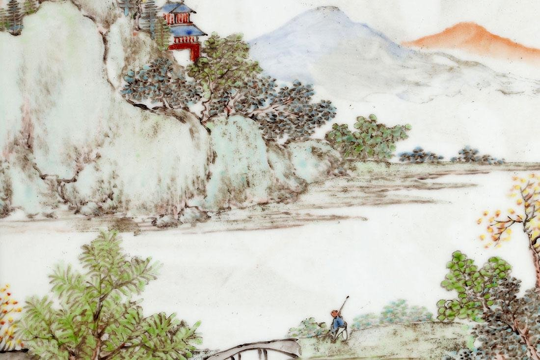 A CHINESE HAND PAINTED PORCELAIN PLAQUE - 9