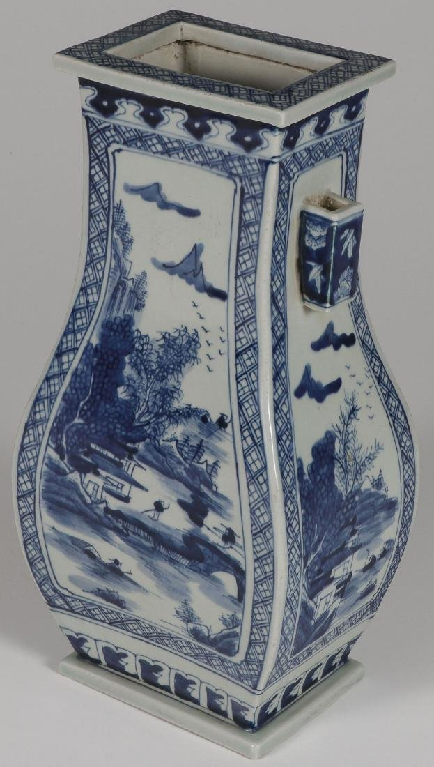 A CHINESE BLUE AND WHITE GLAZED VASE