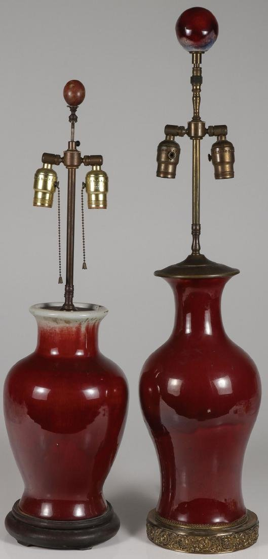 A PAIR OF CHINESE FLAMBÉ RED ANTIQUE VASES