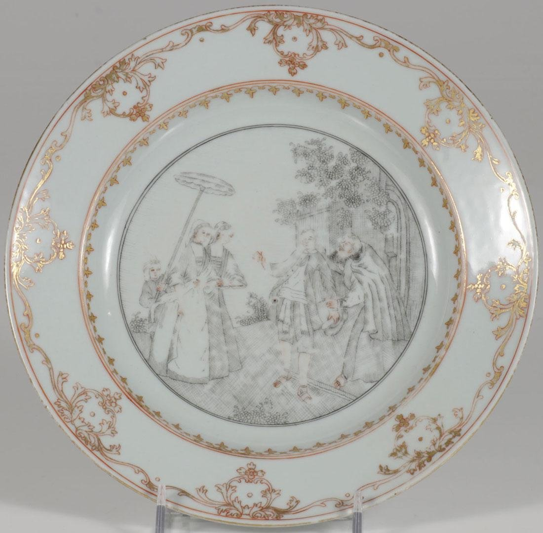 A CHINESE EXPORT WARE STYLE PLATE