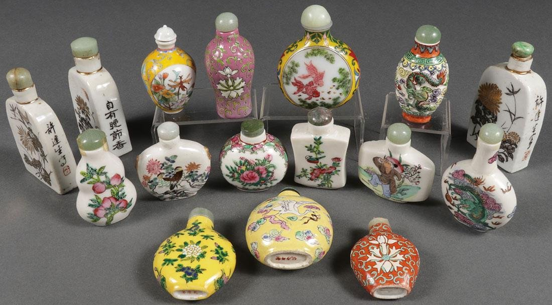 SIXTEEN CHINESE ENAMELED SNUFF BOTTLES
