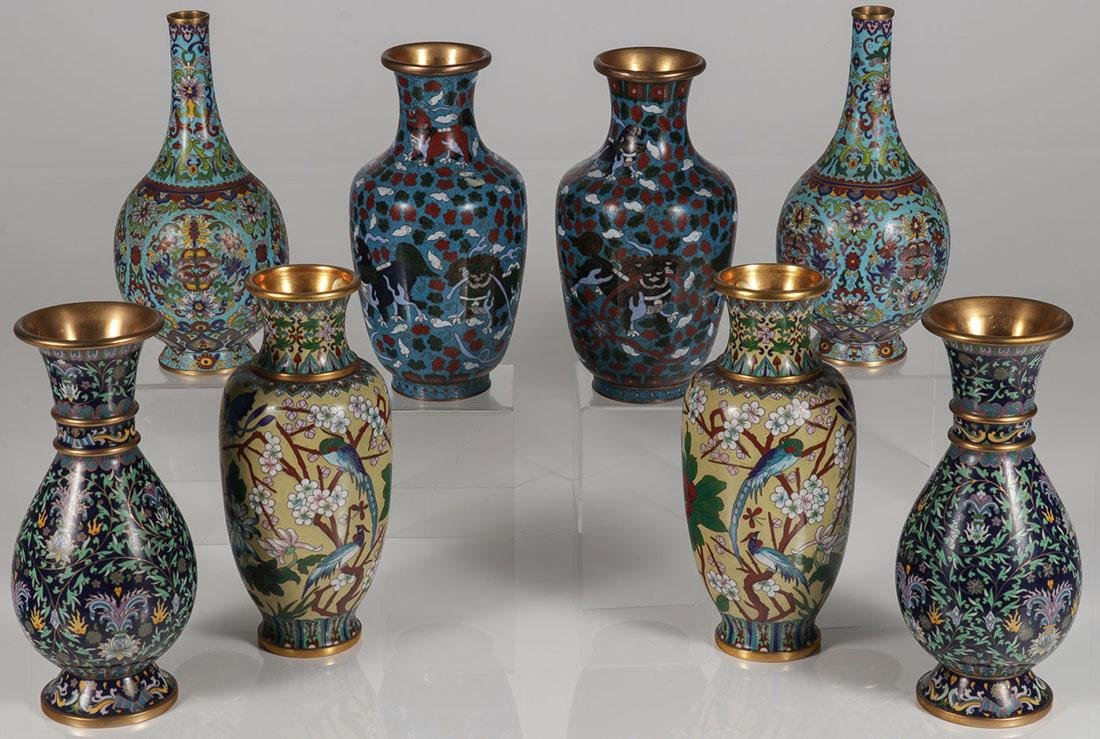 FOUR PAIRS OF CHINESE CLOISONNÉ ENAMEL VASES