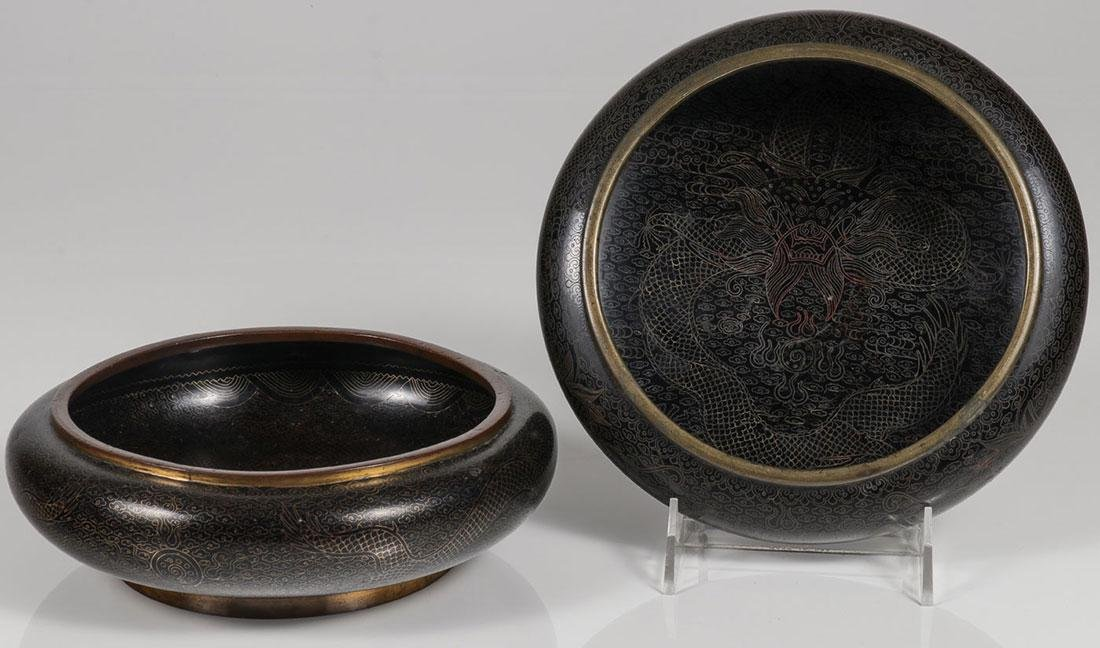 PAIR OF CHINESE CLOISONNÉ DRAGON LOW BOWLS