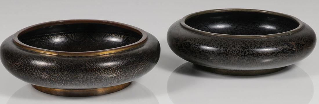 PAIR OF CHINESE CLOISONNÉ DRAGON LOW BOWLS - 2