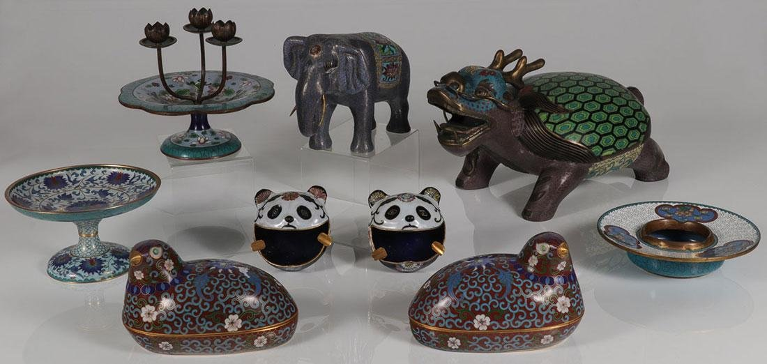 NINE PIECE GROUP OF CHINESE CLOISONNÉ ENAMEL