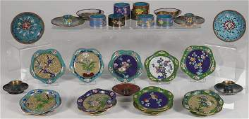 A GROUP OF 34 CHINESE CLOISONN ITEMS