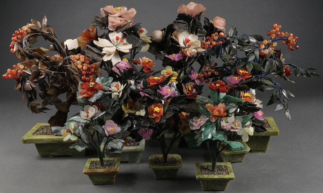CHINESE CARVED HARDSTONE FLORAL ARRANGEMENTS