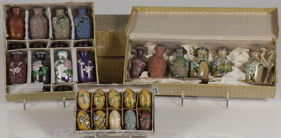 FIVE CHINESE CLOISONNÉ PRODUCTION SAMPLE SETS