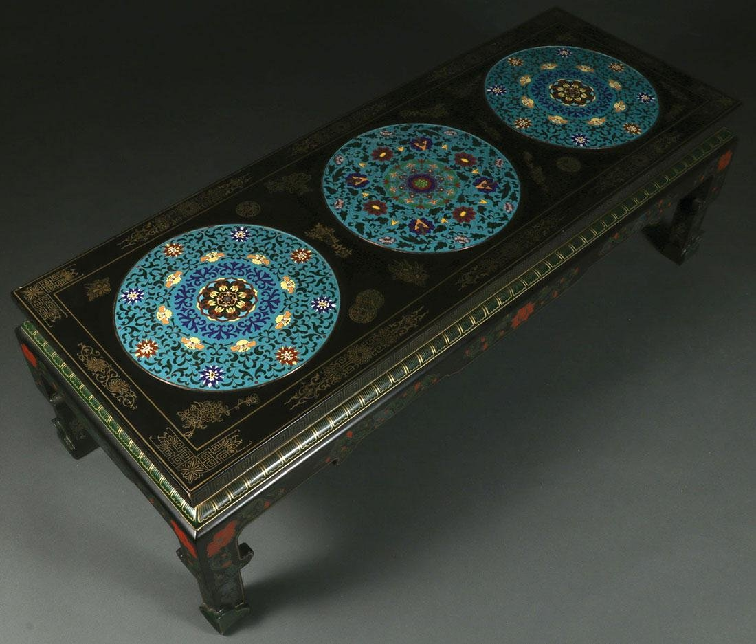 A CHINESE LACQUER WEAR AND CLOISONNÉ TABLE