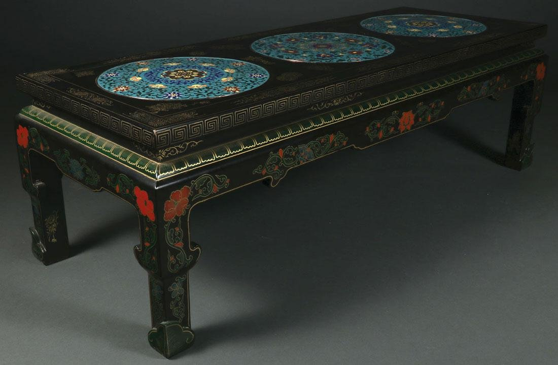 A CHINESE LACQUER WEAR AND CLOISONNÉ TABLE - 2