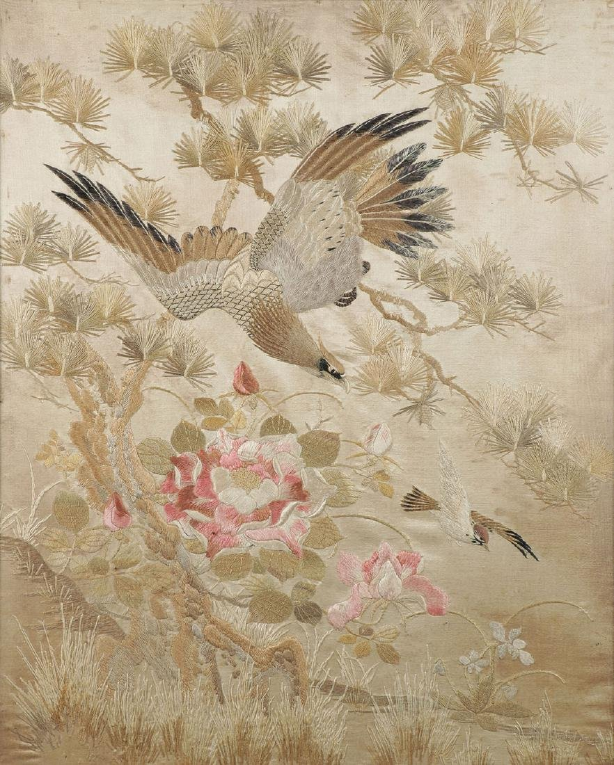 A LARGE CHINESE SILK EMBROIDERED PANEL
