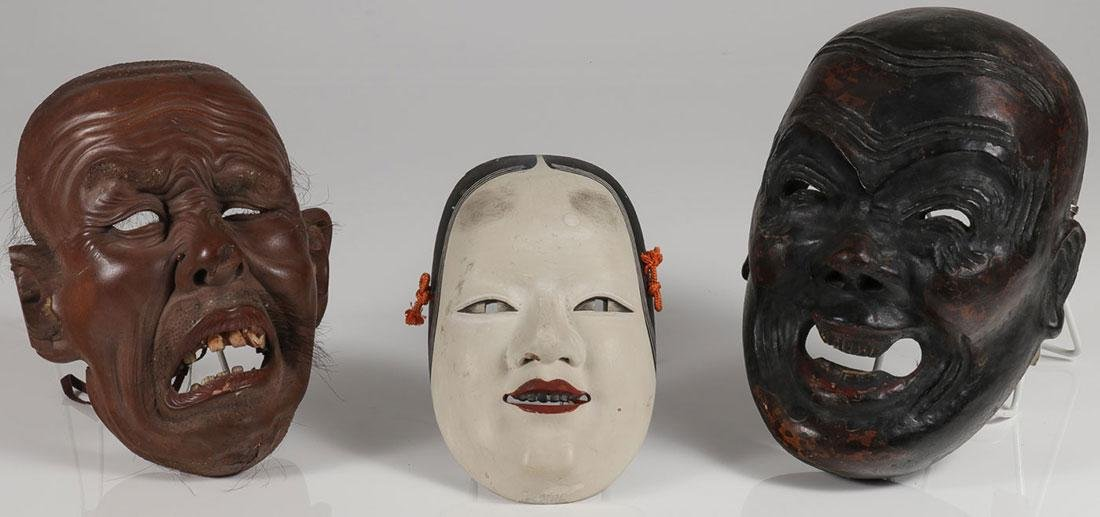 THREE JAPANESE CARVED MASKS