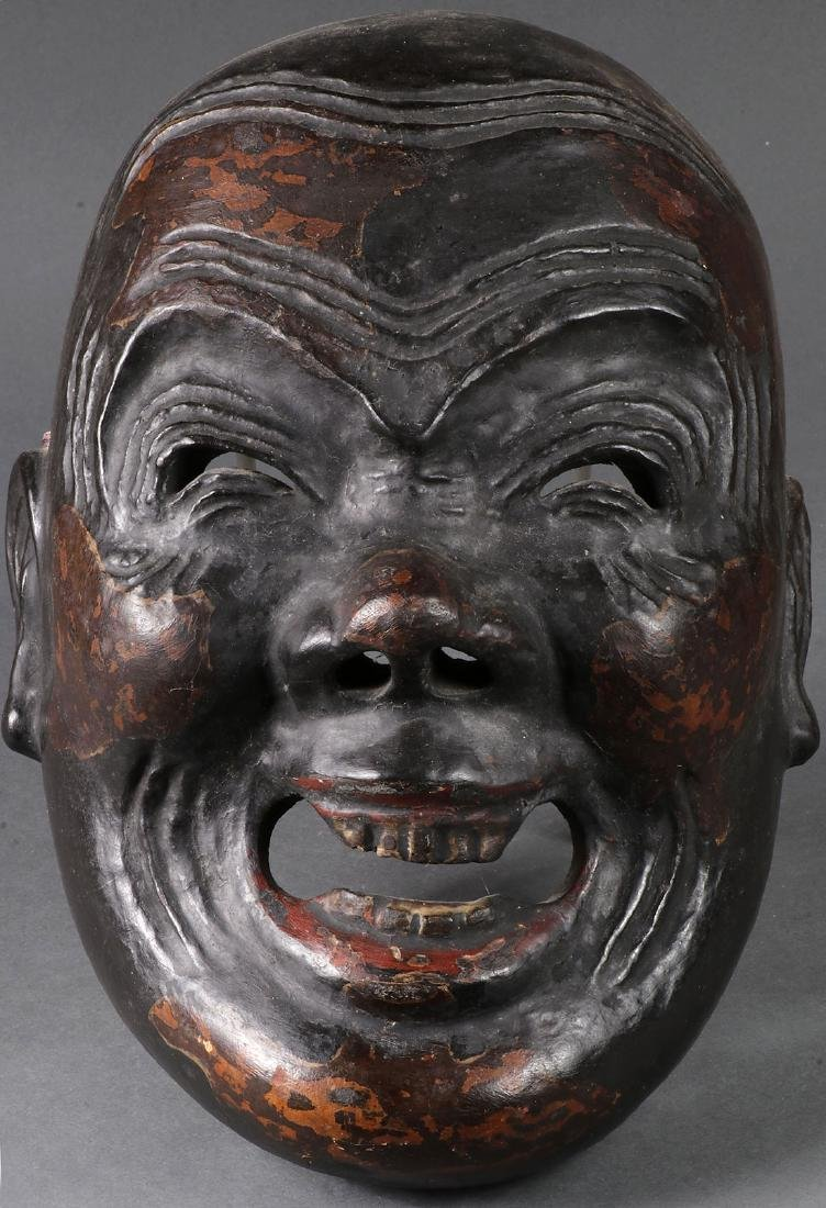 THREE JAPANESE CARVED MASKS - 2