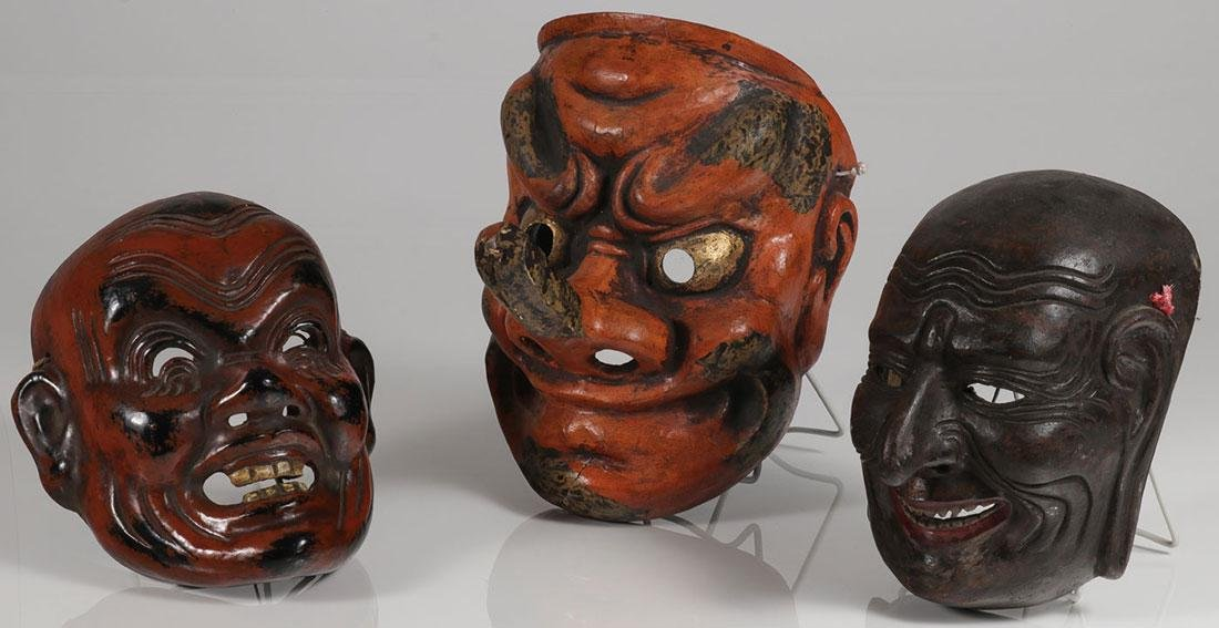 THREE JAPANESE CARVED AND POLYCHROME NOH MASKS