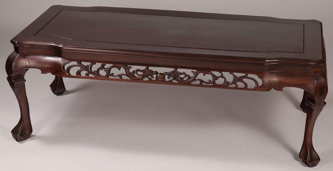 THREE CHINESE CARVED TABLES