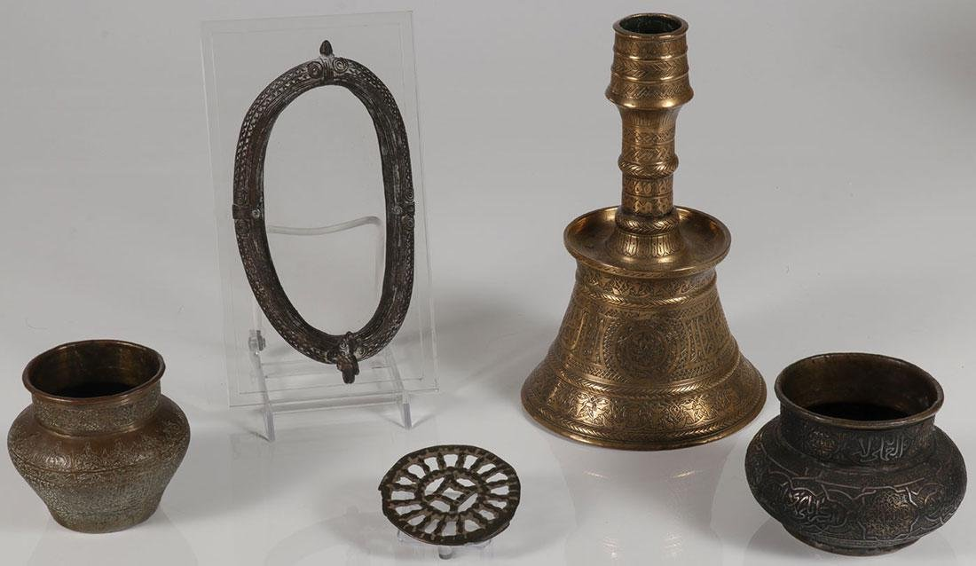 A GROUP OF INDO-PERSIAN METAL WARE ITEMS