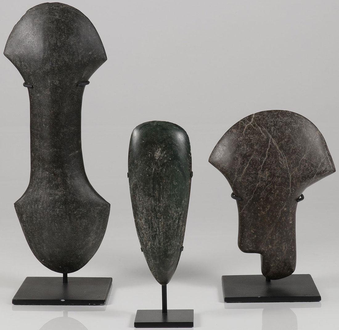 THREE POLISHED STONE BLADES, TAIRONA AND TAINO
