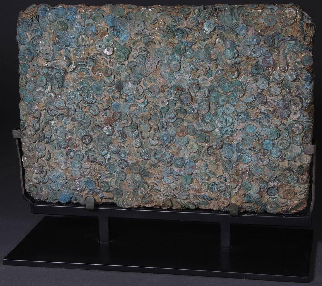 A FUSED COIN PANEL, LY DYNASTY