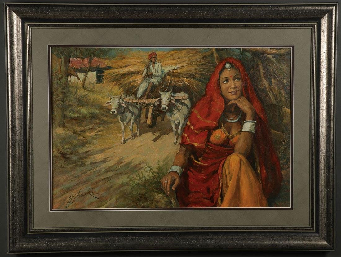 A PAIR OF INDIAN OIL PAINTINGS ARTIST SIGNED - 2